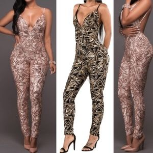 Pants - Sequin backless jumpsuit
